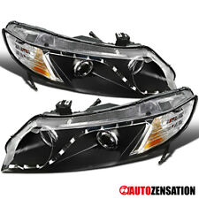 For 2006-2011 Honda Civic 4Dr Sedan R8 LED DRL Black Clear Projector Headlights
