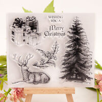 Merry Christmas Tree Reindeer Stamp clear Silicone craft for DIY ScrapbookingU_X