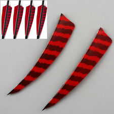 50Pcs Red/Black 4'' Right Wing Shield Turkey Feathers Hunting Arrow Fletching
