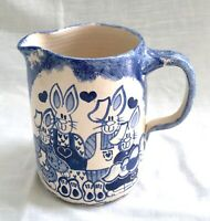 Vtg Hand Thrown Studio Art Pottery Pitcher - OCM 1989 -Blue Spongeware Bunnies