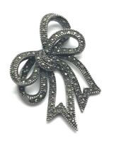 Sterling Silver 925 Brushed Gunmetal Marcasite Bow Loop Ribbon Chunky Pendant