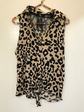 Blu Planet, leopard print, lace back, tie front, collared, top size L
