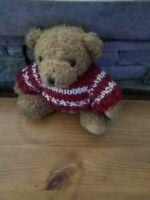 OURS PELUCHE DOUDOU BEAR, 11 cm, avec pull rouge/blanc, VF TOYS d occasion