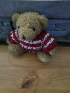 Bear Plush Teddy Bear,4 5/16in,With Jumper Red/White,French Version Toys D Used