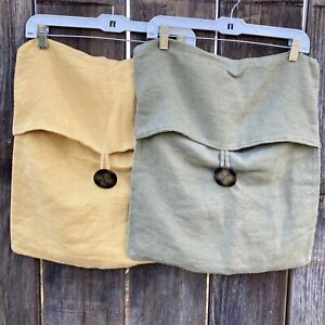 Pottery Barn 100% linen pillow covers 1 Army green &  1 Mustard 18X18 Big Button
