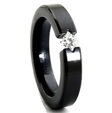 TITANIUM Black Plated 6mm Wide TENSION RING with 4mm Square CZ in size 5