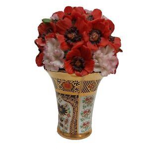 Atlas Floral Treasures Vase Flowers Royal Crown Derby Imari Style. Pretty floral