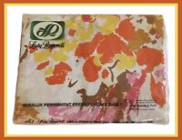 Vintage MCM Lady Peppered Double Flat Sheet - Orange/Yellow/Pink Pattern - NEW