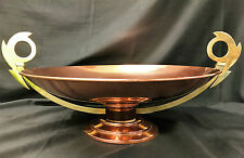 Antique French Art Deco Arts & Crafts Copper And Brass Twin Handled Centrepiece