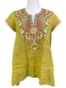 Johnny Was Tikal Swing Embroidered Boho Blouse Top Size W16220-3 Size XS NWT!