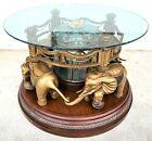Wonderful Fun Rotating African Elephant Carousel Glass Top Coffee Cocktail Table