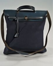 Authentic 2001 Hermés Blue Toile Canvas 2 Way 2 in 1 Herbag Shoulder Tote Bag
