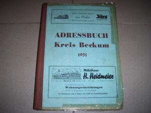 Adressbuch des Kreises Beckum 1951 mit Ahlen, Oelde, Sendenhorst ..Einwohnerbuch