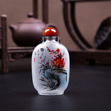 Inner Paint Snuff Bottle Chinese Antique Wintersweet Orchid Bamboo Chrysanthemum