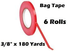 6 Roll Red Bag Sealing Poly Tape 3/8 inch x 180 yards Produce PVC Closure