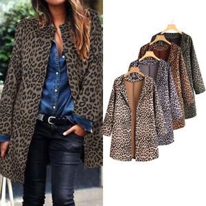 Mode Femme Imprimé léopard Manche longue Loose Loisir Casuel Manteau Veste Plus