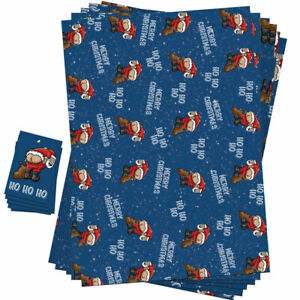 Funny Novelty Christmas Wrapping Paper Sheets Rude Design For Men & Women
