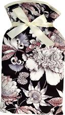 Vagabond Floral Black Print Padded Cotton Cover 2 Litre Hot Water Bottle