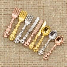 12x Miniatur 1:12 Besteck Gabel Messer Löffel Mehrfarbig Puppenstuben Zubehör