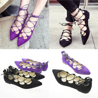 2016 Women Ladies Lace Up Caged Flat Pointed Cut Out Shoes Size 3.5 - 6.UK