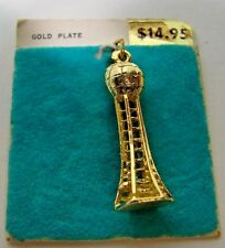 Vintage Eiffel Tower Gold Plated Charm Original Card NOS