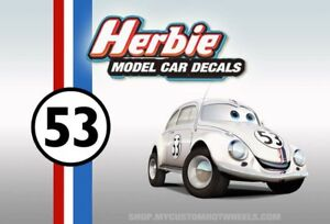 Herbie Decals   Waterslide Decals for Model Cars in all scales from 1:64 to 1:18