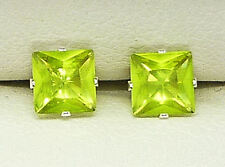 STERLING SILVER STUD EARRINGS SQUARE PRINCESS CUT 5MM CREATED GREEN STONE 1028