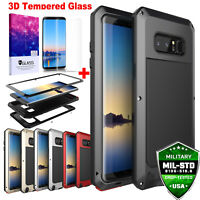 Samsung Galaxy Note 8 S8+ Case Tempered Glass Shockproof Metal Heavy Duty Cover