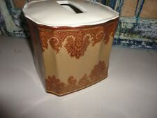 CROSCILL MADEIRA MAROON & TAN PAISLEY TISSUE BOX COVER CERAMIC 6 X 6.25