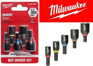Milwaukee 5-Piece SHOCKWAVE Insert Magnetic Nut Driver Set New Free Shipping USA