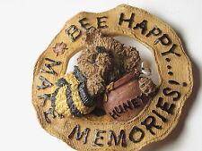 """Vintage Boyd's Bears """"Bee Happy Make Memories!"""" Brooch, Round with Honey too"""