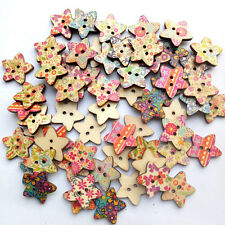 25 Pcs Floral Star Shaped Painted 2 Hole Wooden Buttons Fancy 25mm x25 Profe