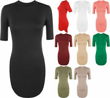 Patternless Short Sleeve Stretch, Bodycon Dresses for Women