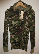 new Ralph Lauren Denim & Supply Polo camo waffle-knit henley hoodie, military, S