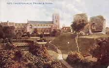 CHRISTCHURCH UK PRIORY AND RUINS~PHOTOCHROM CELESQUE SERIES #6875 POSTCARD