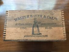 Antique Chocolate Walter Baker & Co. Wood Crate With Paper Tag Still On It