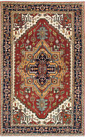 """Hand-knotted  Carpet 5'0"""" x 7'10"""" Serapi Heritage Traditional Wool Rug"""