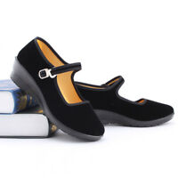 Womens Chinese Mary Jane Ballerina Work Velvet Shoes Lady Cotton Sole Size 5-11