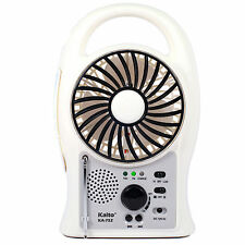 Kaito KA752 Portable Rechargeable 5-Inch Fan with LED Lantern and FM Radio