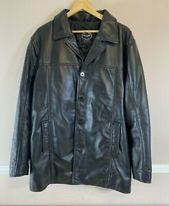 XPOSED Mens LARGE Black Real Leather Vintage Jacket Smart Casual Classic Coat