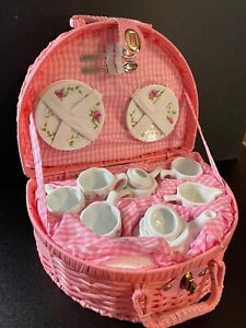 NIB DELTON PRODUCTS PINK BASKET TEA SET ROSE PATTERN CUT SET