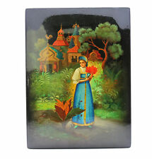 """Russian Lacquer Box Fedoskino Women In Blue Dress W/ Flower Signed 10"""" x 7-5/8"""""""