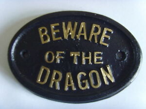 BEWARE DRAGON LAIR HOUSE SIGN MYTH MAGIC DUNGEON OFFICE RUNE PLAQUE