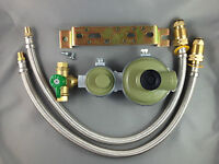 Marshall High Capacity House LPG 2 Stage Regulator + 2 x 450mm Flexible Hoses