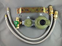 Marshall High Capacity House LPG 2 Stage Regulator + 2 x 450mm Flexible Hoses