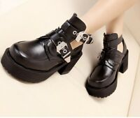 Womens Punk Chunky Cut Heel High Platform Buckle Strap Gothic Ankle Boots Shoes