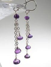 Delicate Genuine Handmade Purple Amethyst Silver Chain Dangle Drop Earrings NEW