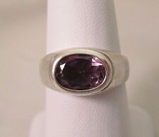 .925 Sterling Silver Ladies Oval Amethyst Solitaire Ring - Size 9     #1388