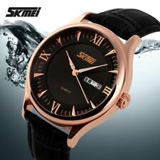 SKMEI  Rose-Gold colour  Case genuine Leather Band Analog Quartz Men Wrist Watch