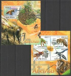 BC482 2012 GUINEA-BISSAU FLORA & FAUNA INSECTS HONEY BEES AS ABELHAS BL+KB MNH